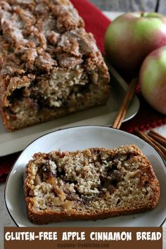 This gluten-free cinnamon bread is loaded with chunks of fresh, tart apples. The kitchen smells amazing when a loaf of this gluten-free apple cinnamon bread is baking! Gluten Free Deserts, Gluten Free Sweets, Foods With Gluten, Gluten Free Baking, Gluten Free Apple Cake, Apple Recipes, Bread Recipes, Baking Recipes, Gf Recipes