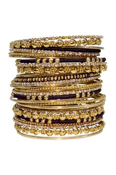 Black  Gold Bangle Set