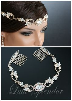 Rose Gold Wedding Forehead Band Swarovski Crystal by LuluSplendor, $195.00