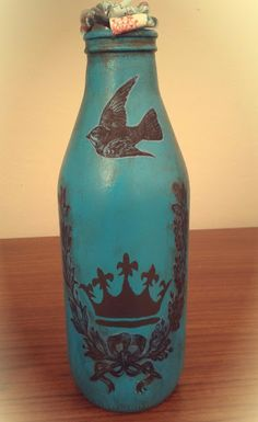 painted bottle, decorative painting, diy, kendin yap, dekoupage, dekupaj, bottle crafts, tutorial, anlatımlı