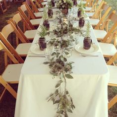 recent wedding on galiano island, bc, canada! Loved the seeded eucalyptus as table runners for this west coast organic wedding!