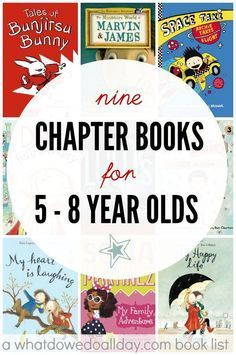 Early Chapter Books for 5 to 8 Year Olds Early chapter books for 5 year olds on up. by Erica- I simply could not come up with a specfic theme for chapter books for 5 year olds to 8 year olds, and so you will have to accept the eclectic-ness of my curation Read Aloud Books, Good Books, Books For Boys, Childrens Books, Toddler Books, Middle School Books, Kids Reading, Reading Lists, Reading Books