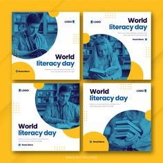 International literacy day instagram pos... | Premium Psd #Freepik #psd Instagram Feed Layout, Feeds Instagram, Instagram Post Template, Instagram Design, Instagram Posts, Graphic Design Flyer, Web Design, Graphic Design Inspiration, Social Media Banner