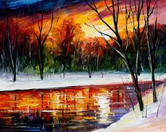 "Sunset Wall Art - Winter Spirit — Landscape River Oil Painting On Canvas By Leonid Afremov. Size: 30"" X 24"" Inches (75 cm x 60 cm)"