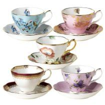 Royal Albert 100 Years of Royal Albert Teacups and Saucers, Set of 5, 1950-1990 - Ready made collection - Cost $129.99 - please click the image for more information...