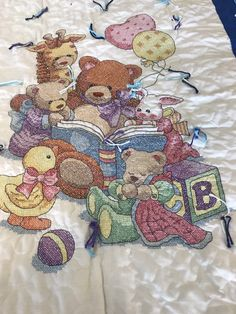 Excited to share this item from my shop: Teddy bear Quilt Baby Blanket handmade cross stitch Cross Stitch Baby Blanket, Quilted Baby Blanket, Flannel Blanket, Tie Quilt, Burp Cloths, Baby Quilts, Teddy Bear, Monograms, Handmade