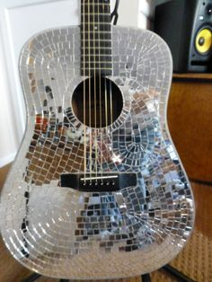 Glass Mosaic Mirrored Tile Acoustic Guitar.  Playable. Hand made, Hand cut, hand placed half inch glass mirror tiles.