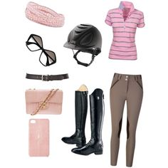 Mad Men Riding Outfit on Polyvore with GenerousGems.com Pink Wrap Bracelet