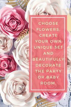 PAPER FLOWERS wall decor perfect for nursery or Wedding backdrop . Choose the colors and size of flowers and compose your own set. Paper Flower Wall, Paper Flower Backdrop, Giant Paper Flowers, Flower Wall Decor, Paper Roses, Nursery Room Decor, Girl Nursery, Girl Room, Baby Shower Photo Booth