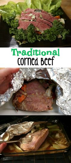 How to bake corned beef. Traditional Irish dish for St. Scottish Recipes, Irish Recipes, Beef Recipes, Cooking Recipes, Baked Corned Beef, Cooking Corned Beef, St Patricks Day Drinks, How To Cook Beef, Corn Beef And Cabbage