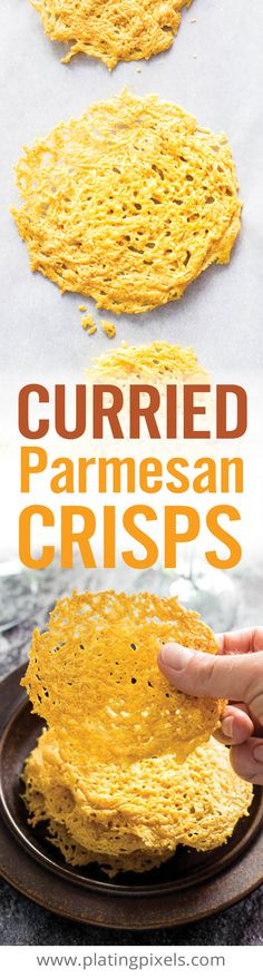 Msg 4 21+ Quick and easy homemade Curried Parmesan Crisps. Shredded Parmesan cheese with curry powder, baked into crunchy golden brown crisps. A unique appetizer or wine and cheese pairing. - www.platingpixels.com [ad] #ShareWineandBites