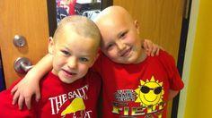 Little boy shaves head to comfort best friend fighting cancer