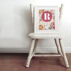 Personalised vintage floral baby name & birth art print hardtofind. Kids Prints, Art Prints, Vintage Crib, Birth Art, Baby Posters, Toy Rooms, French Art, Baby Names, Vintage Floral
