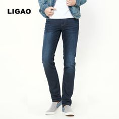 >> Click to Buy << LIGAO 2017 Men's Jeans Spring Casual Pants Trousers Warm Thick Jeans Men Slim Straight Style Full Length Basic Pant #Affiliate