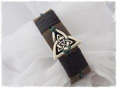 Men's Leather Bracelet Viking Bracelet Triad Celtic