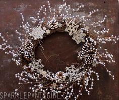 Christmas Grapevine Wreath 12 in white silver | Supplies: 18 inch grapevine wreath, 18 silver berry floral picks (half ...