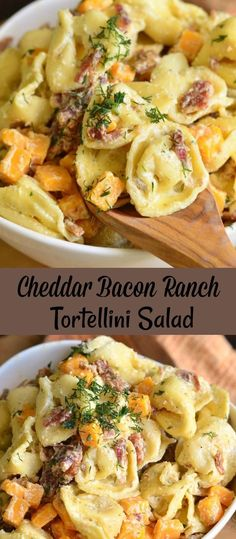 Cheddar Bacon Ranch Tortellini Salad A pasta salad that everyone will be fighting over at your next BBQ. This tortellini salad is loaded with crispy bacon, sharp cheddar cheese, and tossed in a creamy ranch sauce. Clean Eating Recipes, Cooking Recipes, Healthy Recipes, Pasta Salad With Tortellini, Bacon Ranch Pasta Salad, Tortellini Ideas, Creamy Pasta Salads, Crab Salad, Cheese Salad
