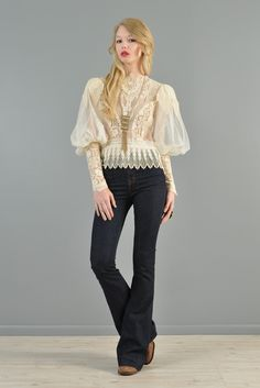 1970s Sheer Puffed Sleeve Lace Victorian Blouse | BUSTOWN MODERN