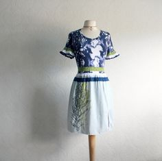 Boho chic, navy, blue and green, lace ruffles, women's, upcycled dress in size small. One-of-a-kind, eco-friendly clothing for women, plus size women and children.