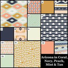 Custom Baby Bedding Crib Set Navy Mint Coral by JessieOchsGifts