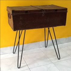 Old metal suitcase with own design hairpin legs