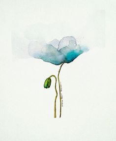 Watercolor flower painting blue poppy watercolor 8 x 10