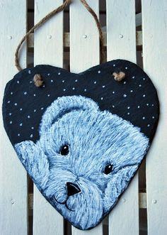 Ardoise coeur ours polaire  décoration pour