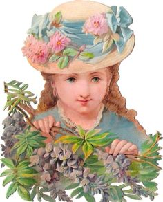 Oblaten Glanzbild scrap die cut chromo Dame 12,3cm lady girl blossom child Kind