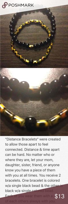 "Distance Bracelets Made with leopard barrel & black colored 6mm glass beads. Measures 3.5"" when folded in half; comfortable fit, flexible but not loose.   Wear one & share one. Keep a piece of each other with you, no matter the miles apart.   Balance Bracelets  Distance Bracelets Friendship Bracelets  Yin Yang Bracelets Handmade Jewelry Bracelets"
