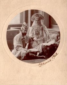 """imperial-russia: """" """"Grand Duke Alexander Mikhailovich and Grand Duchess Xenia Alexandrovna in fancy outfits for the famous costume ball, 1903 """" """" Costume Russe, Film Dance, Grand Duc, Maria Feodorovna, Russian Culture, Winter Palace, Tsar Nicholas Ii, Russian Fashion, Russian Style"""