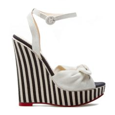 Bethylin: wedge sandal w/fabric bow styling that creates a sweet & summery touch #nautical