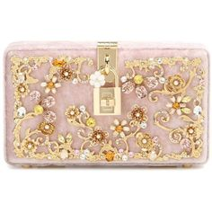 Dolce & Gabbana Dolce Embellished Velvet Box Clutch (€2.645) ❤ liked on Polyvore featuring bags, handbags, clutches, pink, box clutch, pink purse, embellished handbags, embellished purses and dolce gabbana purses