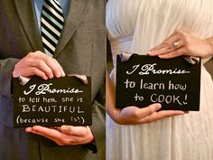 """Two Chalkboard """"I Promise"""" Signs with Hanging Ribbon for Chair or Photobooth. $19.99, via Etsy."""