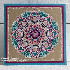 Marianne Design Cards, Penny Black Stamps, Stamping Up, Stencils, Mandala, Projects To Try, Tapestry, Stickers, Create