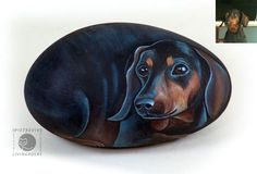 Dachshund hand painted on stone. Rock painting by Ernestina Gallina Pebble Painting, Pebble Art, Stone Painting, Rock Painting, Painted Rock Animals, Hand Painted Rocks, Painted Stones, Stone Crafts, Rock Crafts