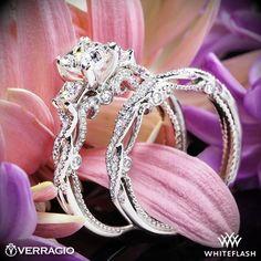 Verragio INS 7074P Beaded Braid Princess 3 Stone Engagement Ring   2871