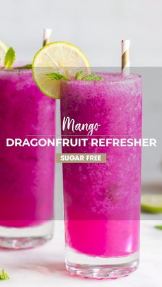 Make a delicious Mango Dragonfruit Refresher at home! Keep it healthy by using just a few healthy ingredients, and save money. I love this drink with soda water, but you can also make a Mango Dragonfr Kid Drinks, Fruity Drinks, Non Alcoholic Drinks, Refreshing Drinks, Mango Drinks, Beverages, Cool Drinks, Colorful Drinks, Frozen Drinks