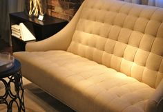 """(Click to view larger)  Candice Olson for Highland House.  """"The Envy Settee"""" was the talk of market.  Clean lines and tufted seat and back add just the right amount of glamour without fuss. www.HighlandHousefurniture.com MS 142, 243  #hpmkt"""