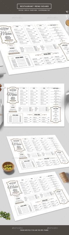 Restaurant Menu Board — Photoshop PSD #steak #menu design • Download ➝ https://graphicriver.net/item/restaurant-menu-board/19411860?ref=pxcr
