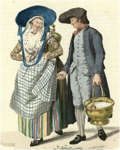 What a riot of patterns! She is wearing floral, polka dots, checks, and stripes! Woman and man in The Batavian Republic (a.k.a. The Netherlands.). Engraved by Lodewijk Portman (1772 - ca. 1813), published in 1803.