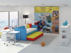 supposed to be a kids room but hey, not really in my pseudo immediate future - would make a great game room though!