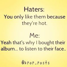 Pffft, totally because of their looks. Cause, you know, when you first hear a song you really like from a new group you have never seen without seeing them as you listen, it is all about their appearance -_- The 'hater' has my mother's logic.