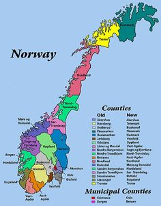 Resources for researching locations and ancestors in Norway. The map displays old and new names