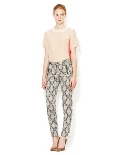 Jacquard Pant with Leather Combo by Maje at Gilt