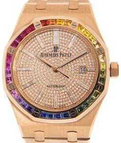 "Royal Oak Automatic ""Rainbow"" Diamond Rose Gold Unisex Watch"