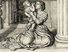 """""""Father's Leave Taking"""" by William Holman Hunt. 1879, etching on ivory paper. In the collection of The Toledo (OH) Museum of Art. This was on view as part of TMA's """"Looks Good on Paper (Masterworks and Favorites)"""" exhibition."""