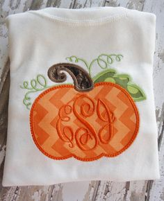 Pumpkin Fall HalloweenMonogrammed Personalized by WiggleStitches, $25.00