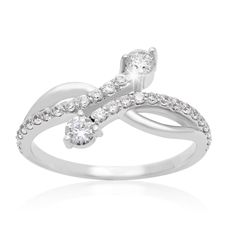 2Be Bonded Together 10k White Gold 1/2ct TDW Two Diamond Plus Ring