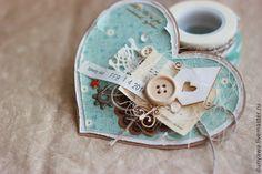 """Купить Валентинка """"Доброе сердце"""" - голубой, валентинка, День всех влюбленных, День Святого Валентина"""