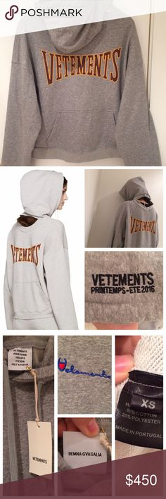 VETEMENTS GRAY REVERSIBLE HOODIE SOLD OUT S/S 2016 VETEMENTS Long sleeve oversized hoodie. Parisian label Vetements as seen on Kanye West, Kendall and Kylie Jenner, Rihanna, Selena Gomez and many fashion bloggers. Has the Vetements logos and tags and the name of the Vetement's head designer, Demna Gvasalia. Size XS but fits oversized like all Vetements apparel. Brand new with tags, In perfect condition. Resale goes upwards of $900-$1000 Sweaters